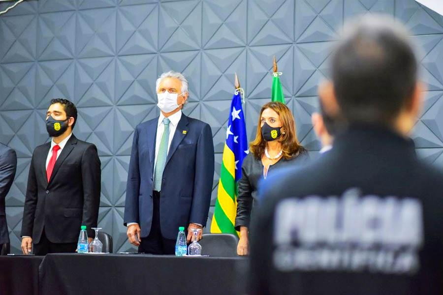 Linconl Tejota, Ronaldo Caiado e Gracinha Caiado | Foto: Júnior Guimarães