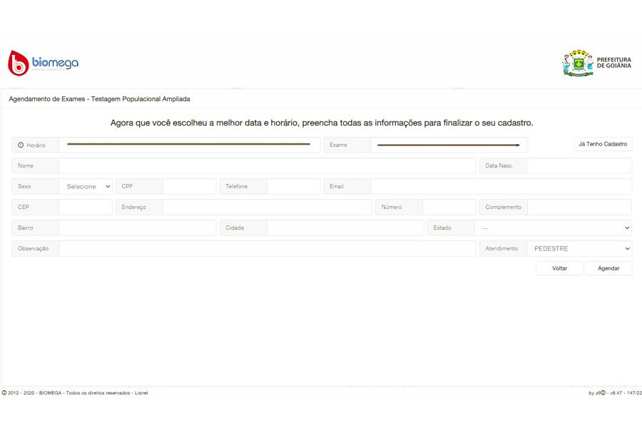 Como agendar o teste da covid-19 em Goiânia: passo 2 | Foto: Reprodução