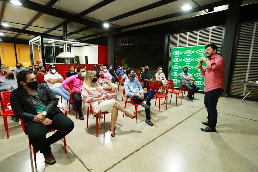 Glaustin da Fokus fala em reunião de pré-candidatos do PSC em Aparecida | Foto: Divulgação