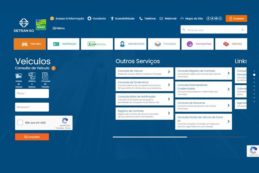 Como consultar Débitos de Veículos no site do Detran Goiás | Foto: Reprodução
