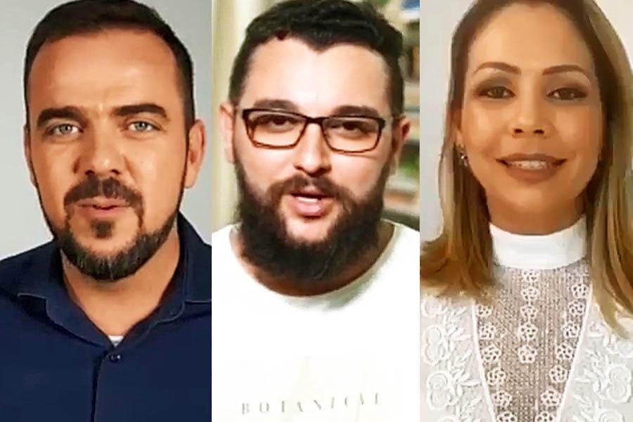 Gustavo Mendanha, Bruno Felipe e Márcia Caldas | Foto: Montagem / FZ